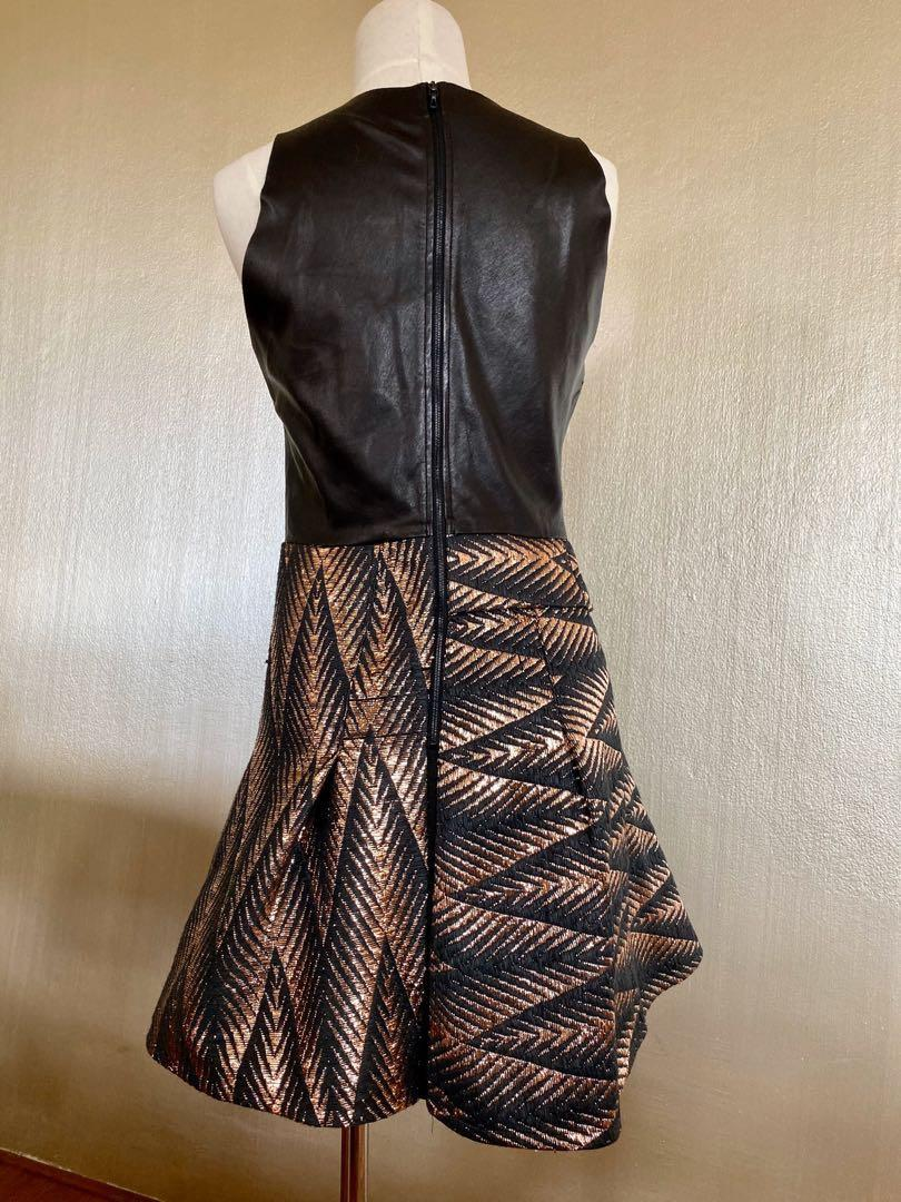 RARE WILLOW DRESS leather black rose gold metallic weave evening formal cocktail geometric RRP $649