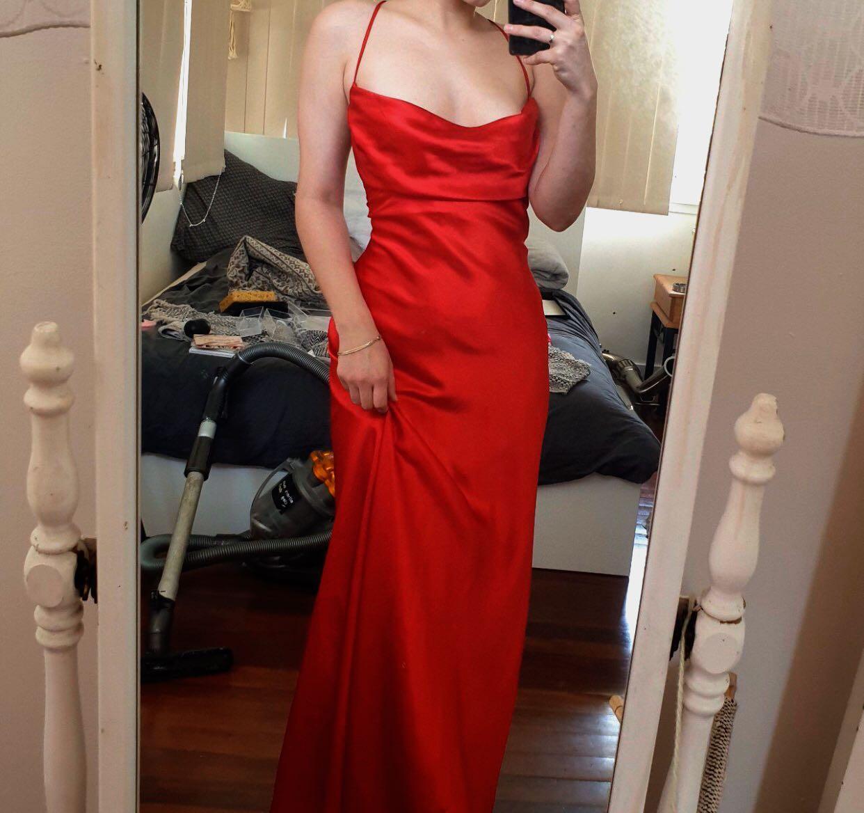 Satin cowl formal dress