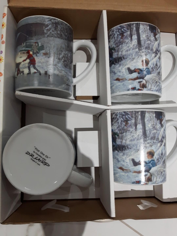 Set of 4 Douglas Laird Coffee Cups (3 are same print)