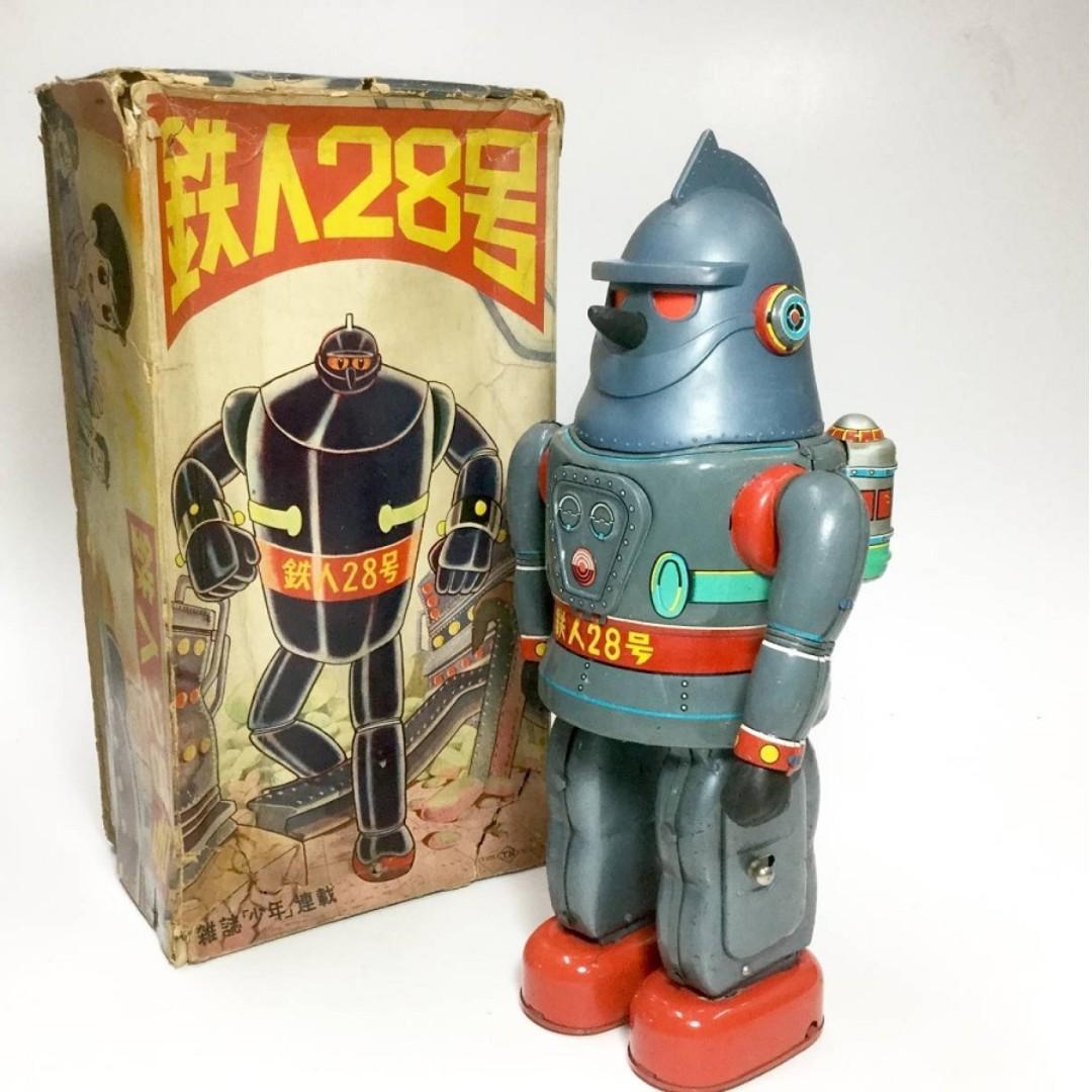 "VINTAGE NOMURA TETSUJIN 28 GIGANTOR Batt Op TIN Robot 13"" POPY BULLMARK TAKATOKU T28"