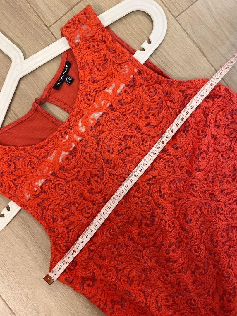 Warehouse red lace top