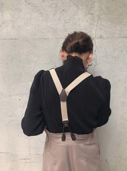 (🇯🇵日本代購)日幣¥19,250円【AMERI】代官山知名品牌夢幻逸品高級質感光澤料背帶可拆卸刺繡米粉色寬版褲