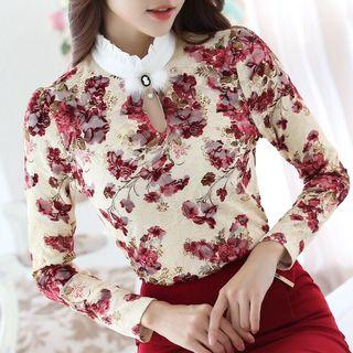 Free Shipping Promotion -15-25 days shipping time for Casual  Autumn Winter High Collar Crochet Lace Floral Blouses Women Ladies Tops Lace Women Blouses Long Sleeve