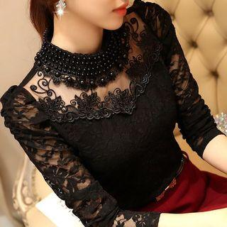 Free Shipping Promotion-15-25 Days Shipping time for vintage crochet blusas Fashion Autumn women shirts Sexy Casual OL Lace Blouse