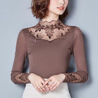 Free shipping Promotion-15-25 Days Shipping time for Women Tops Autumn Mesh Long Sleeve Blouses Leaf Lace Patchwork Tops Plus Size