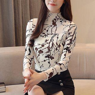 Free shipping Promotion-15-25 Days Shipping Time for Korean Style Women Tops Floral Print Blouse Plus Size Long Sleeve Blouses