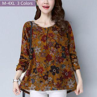 Free Shipping Promotion-15-25 Days  Shipping time for Women Blouse Korean style Floral Print Long Blouse Button Tops