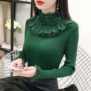 Free shipping Promotion-15-25 Days Shipping Time for Women Sweater Turtleneck Casual Knitted Shirt Patchwork Lace Tops Long sleeve Pullovers