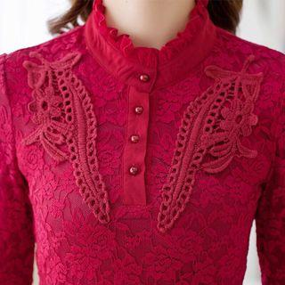 Free Shipping Promotion-15-25 Days Shipping Time for Blouse Fashion Korean Lace Blouse Stand Collar Slim Long Sleeve Shirt Tops