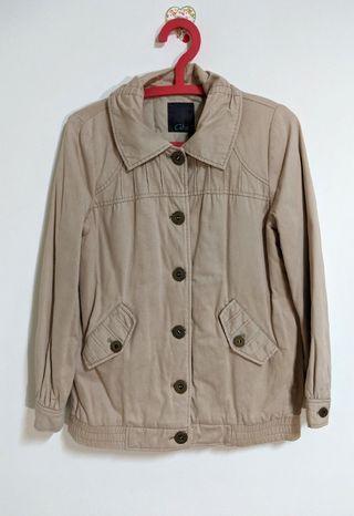 GOZO 鋪棉外套 外套 夾克 米色 100%棉 抓皺設計 公主袖 休閒帥氣風 coat jacket 純棉