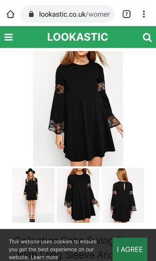 Asos boho lace black dress