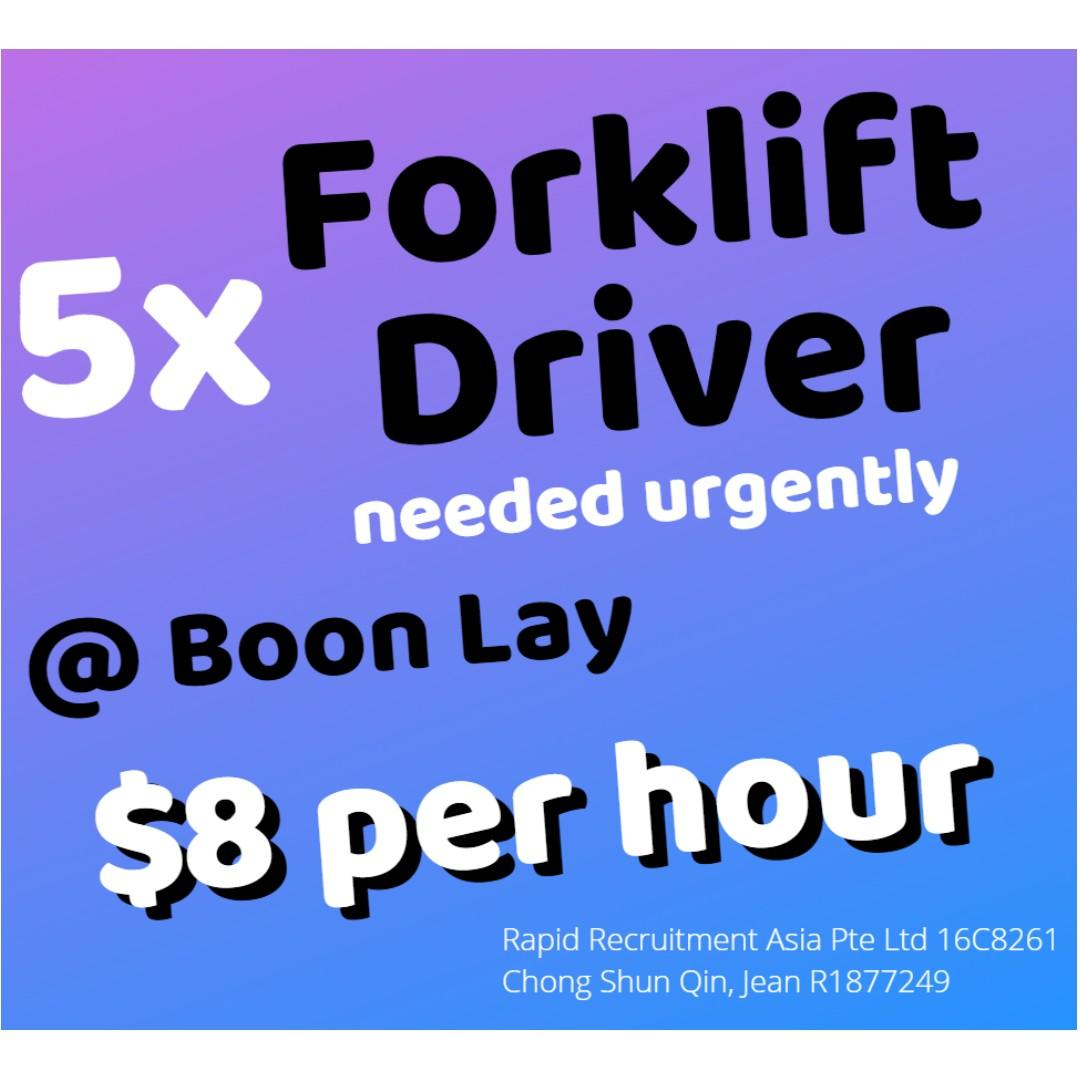 Forklift Driver (Boon Lay | 2 Wks Salary | Tpt Provided) JQ