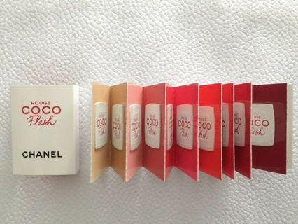 CHANEL ROUGE COCO FLASH LIPSTICK SAMPLE CARD 15 shades x 0.04g