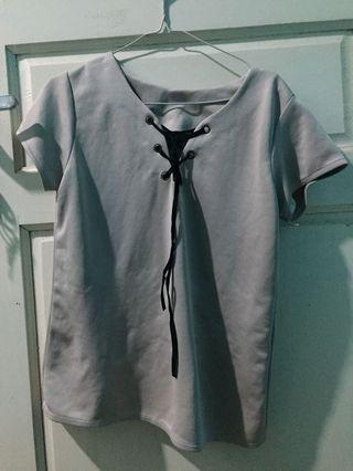 Blouse Grey Top Tie Tied Brown Mocca all size fit to L