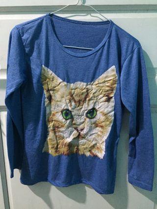 Kaos Panjang Anak Girl Long Tee t-shirt long sleeves blue Cat Figure Figured
