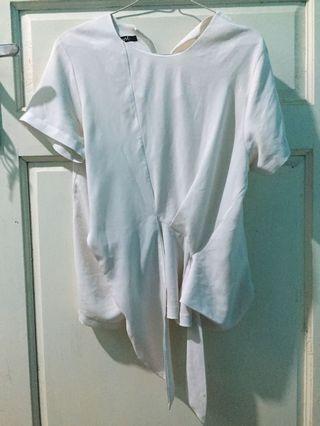 Blouse White Short Sleeves Blus putih Lengan Pendek Tie Tied Blouse polyester S