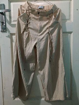 NEW Celana Kulot Wide Pants Long Tied Tie Cullotes Cullote Beige women Cream Krem Travelling Travel Linen
