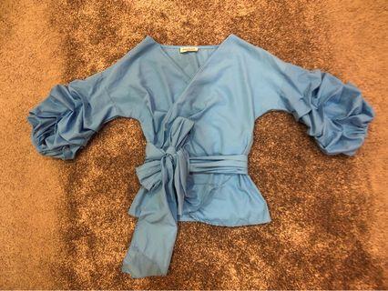 Kimono Wrap Puffy Sleeve Top