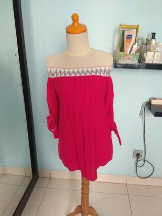 Red sabrina long top with knot
