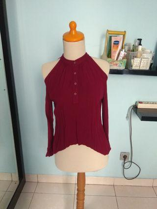 Colorbox cutout asymetric red blouse