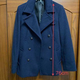 羊毛大衣 中長版 深藍色