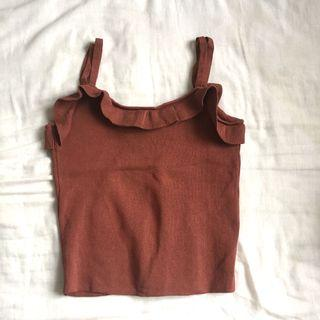 Frilled Brown Cami Crop Top
