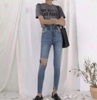 歐美韓版緊身顯瘦修身牛仔長褲