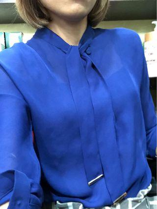 Blue sexy office blouse