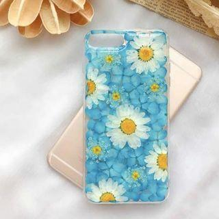 《預購》蘋果手機-清新夢幻藍色純手工真花乾燥花壓花打造手機殼-其他型號請私訊