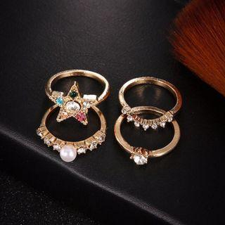 Rainbow Stars Set Rings