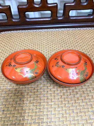日本木胎漆器碗ㄧ對