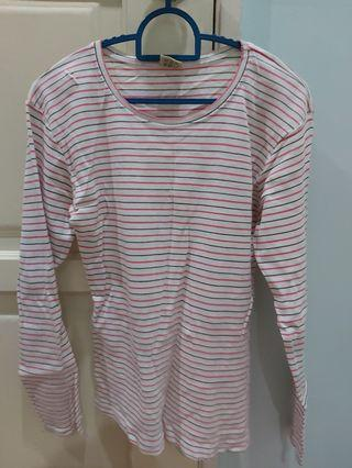 Pink stripes long sleeve tops