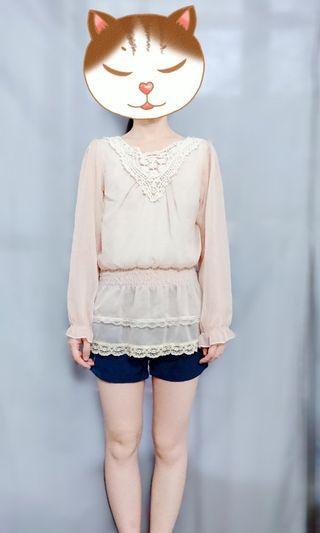 上衣 雪紡上衣 雪紡上衣杏色長袖氣質甜美 秋季微涼穿搭 女生上衣 長袖