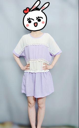 上衣 雪紡上衣  雪紡短袖圓領上衣紫色小小簍空滾邊花邊設計 女生上衣