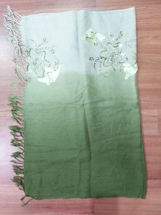 Pashmina green floral shawl