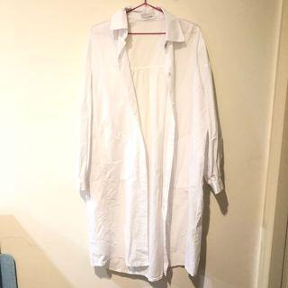 全新 原800 白色襯衫長版外套