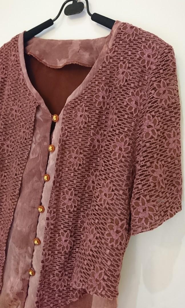 暗粉紅設計感雪紡上衣 二手