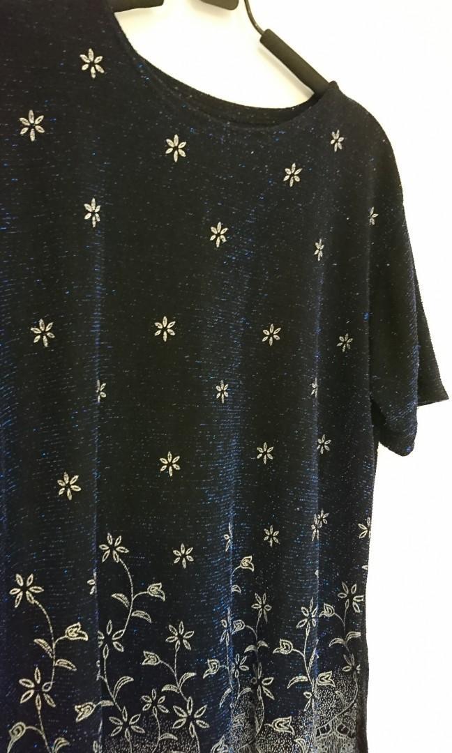 深藍繁星長版上衣 二手