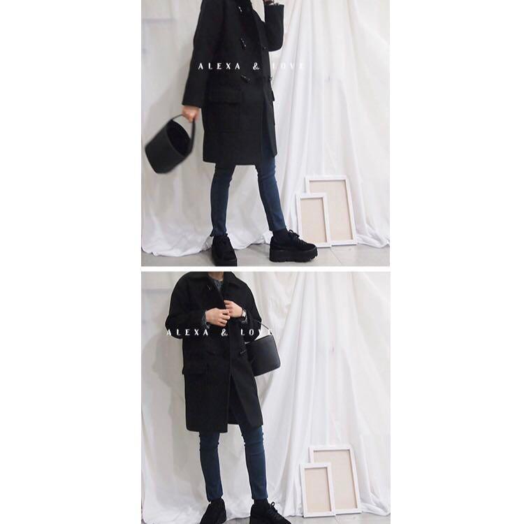 二手韓版Alexa love黑色毛呢牛角扣大衣外套 uniqlo 貓咪曬月亮 queen shop