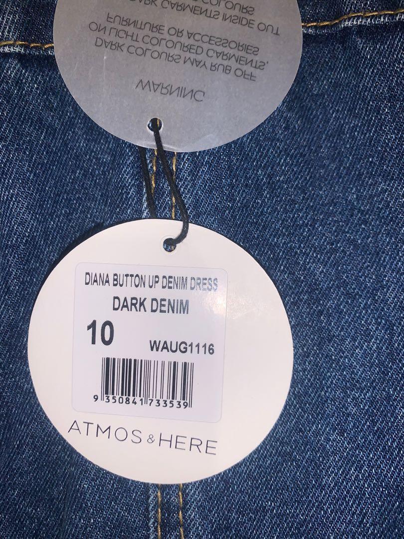 Atmos & Here Diana Button Up Denim Dress - Dark Denim