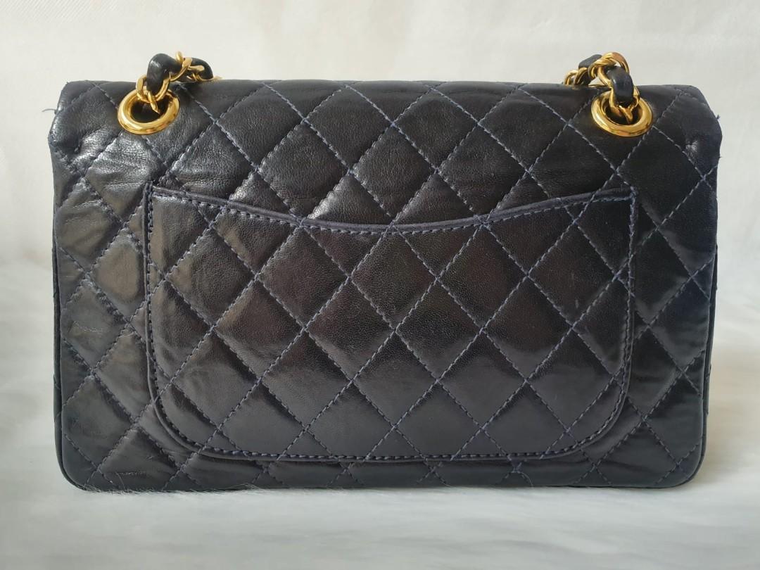 "Authentic Chanel Vintage Small 9"" 23cm Lambskin Double Flap Black Bag"