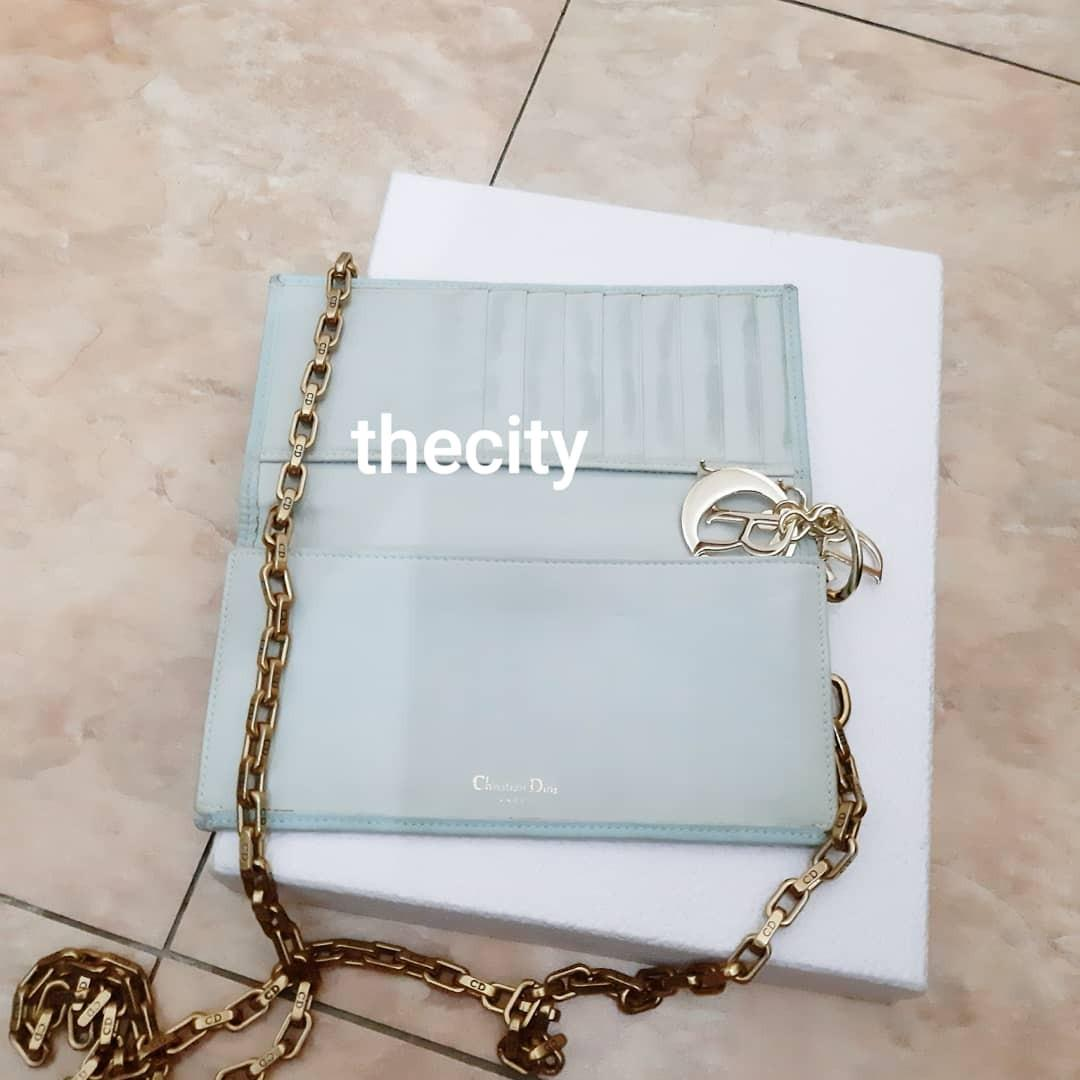 AUTHENTIC DIOR LADY DIOR QUILTED LONG WALLET - BLUE MICROFIBER,  GOLD HARDWARE, EXTRA ADD DIOR CHAIN STRAP FOR CROSSBODY SLING - CLASSIC VINTAGE TIMELESS DESIGN - CLEAN INTERIOR & POCKETS- (DIOR WOC'S NOW RETAIL AROUND RM 5000+