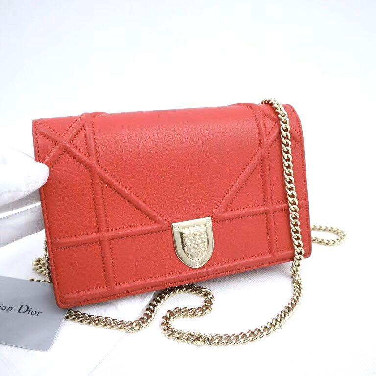 Authentic Pre-loved Christian Dior Diorama Wallet On Chain WOC En Veau Graine Rouge