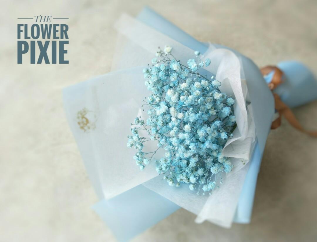 B51: Baby's Breathes Bouquet (blue)|Birthday Flower|Anniversary Flower|Proposal Flower|Graduation Flower|Florist|Flower Delivery