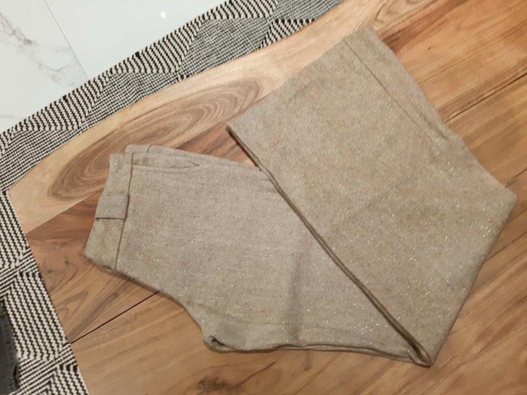 SANDY BEIGE SHIMMER FITTED WIDE LEG LOW WAIST SIZE 5/6 (SMALL)