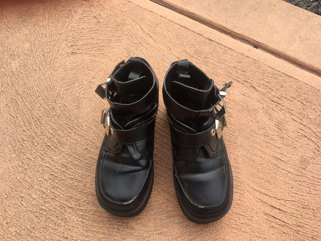 Black ankle boots motorcycle buckle