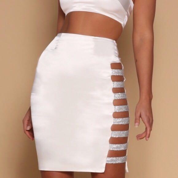 BNWT Meshki Diamante Panel Satin Midi Skirt