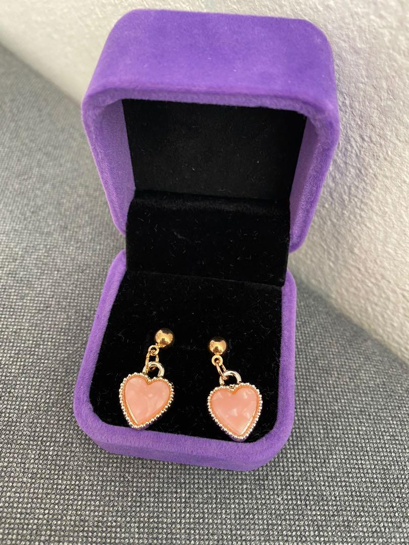 Brand new pink heart shaped dangling stud earrings with gift box