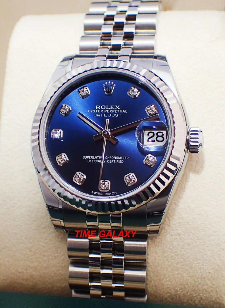 Brand New ROLEX Oyster Perpetual 31mm Datejust Automatic Blue Dial with 10 Diamonds. Swiss made. Ref model : 178274