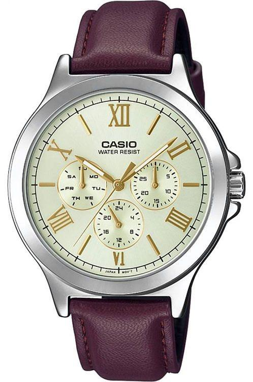 Casio MTP-V300L-9A Men Analog Date Day Indicator Brown Leather Band Silver Case Original Casual Watch MTP-V300L